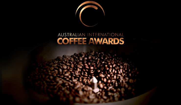 Australian International Coffee Awards logo with coffee beans