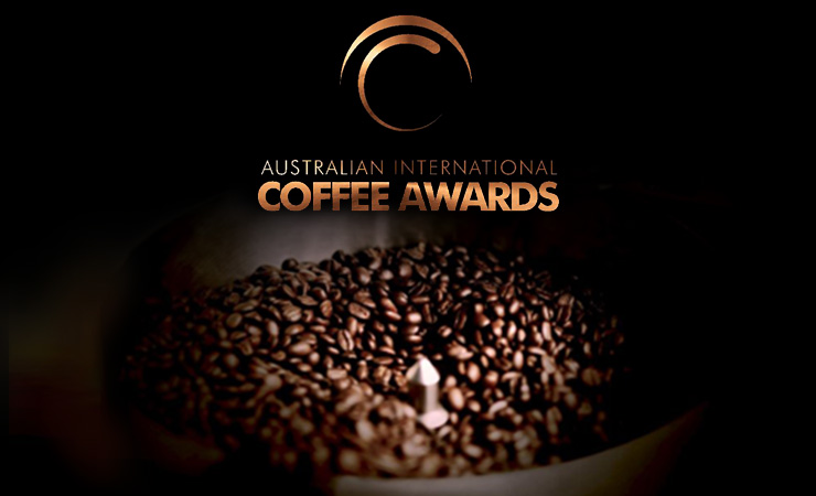 Australian International Coffee Awards logo with coffee beans