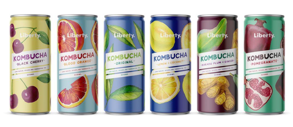 Artistic photo of Liberty Kombucha drinks