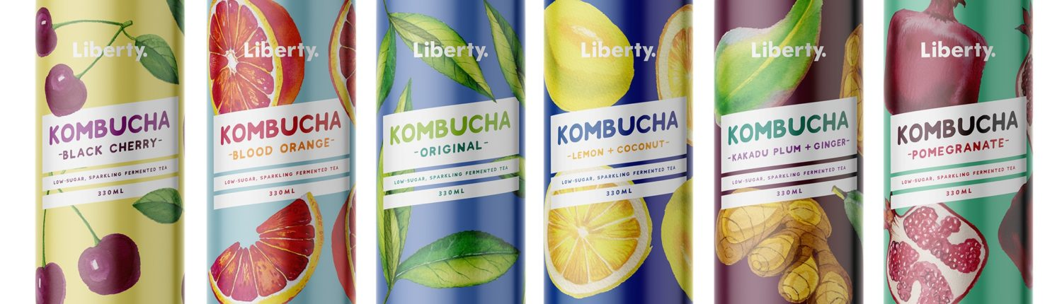 Artistic photo of Liberty Kombucha drinks