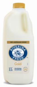 2 litre bottle of Riverina Fresh gold milk