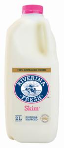 2 litre bottle of Riverina Fresh skim milk