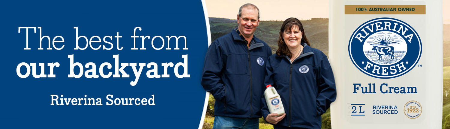 """Banner with two people on a farm and text saying """"the best from our backyard""""."""
