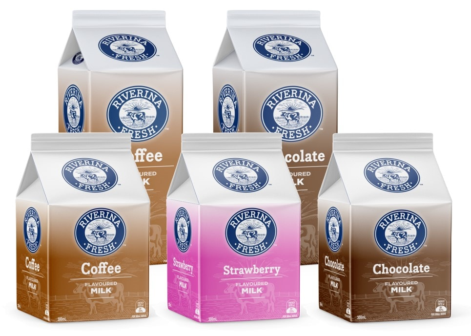 Riverina Fresh flavoured milk cartons in chocolate, coffee, and strawberry