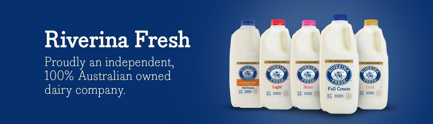 "Riverina Fresh milk banner stating ""proudly an independent, 100% Australian owned dairy company"""