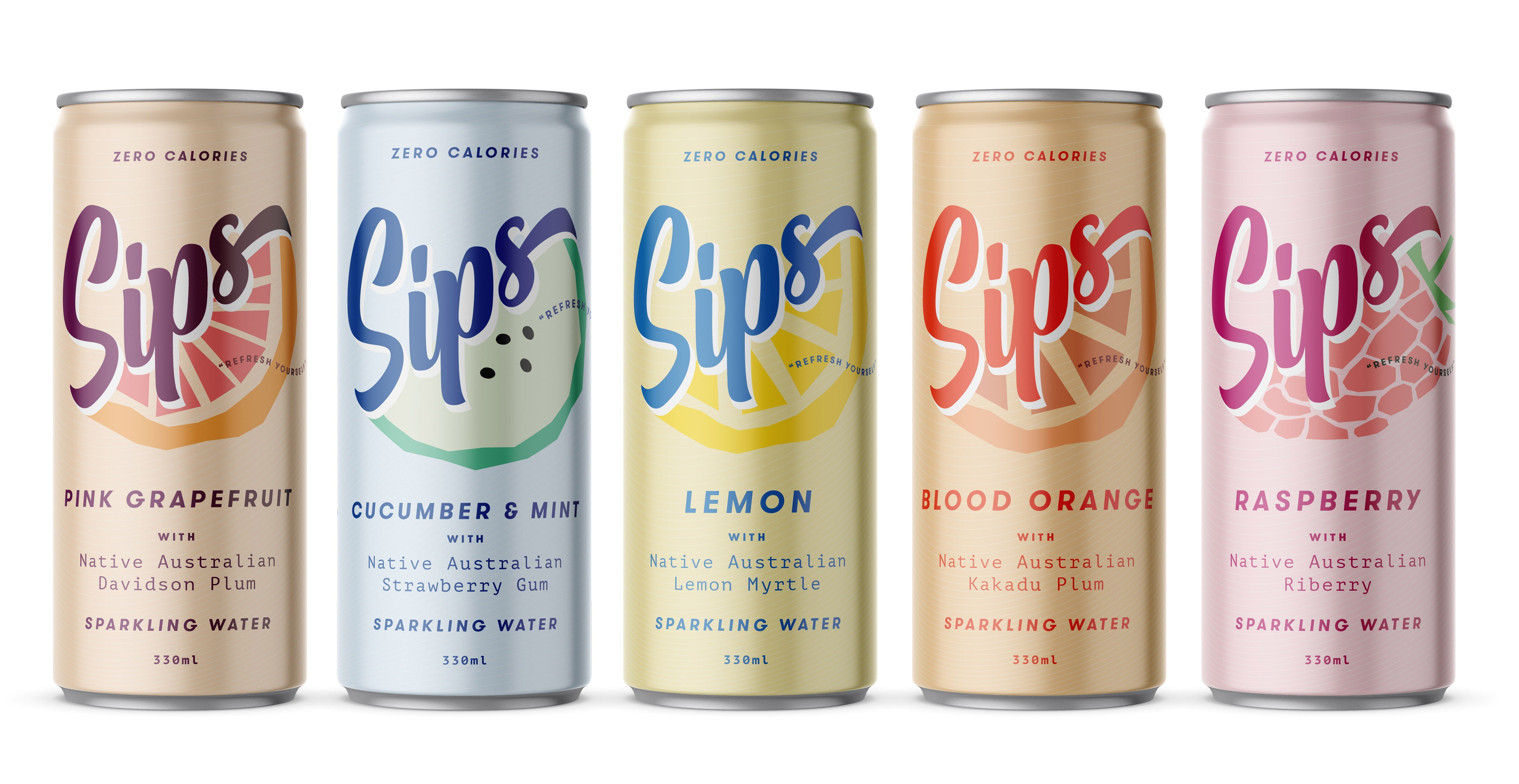 Cans of Sips sparkling water in pink grapefruit, cucumber & mint, lemon, blod orange, and raspberry
